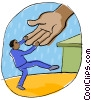 Vector Clip Art image  of a helping hand