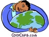 Vector Clipart graphic  of a woman embracing the globe