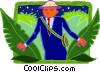 Vector Clipart graphic  of a business man in jungle