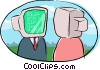 Vector Clipart illustration  of a computer heads