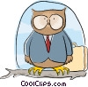 business wise owl sitting on a branch Vector Clipart illustration