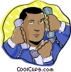 Vector Clipart graphic  of a man with multiple phones