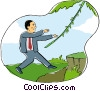 business man in jungle Vector Clipart illustration