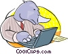 rhinoceros working at his notebook computer Vector Clipart picture