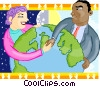 man and woman shaking hands around the world Vector Clipart illustration