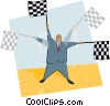 man waving flags Vector Clipart picture