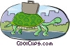 Vector Clipart graphic  of a turtle with a briefcase