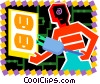 Man plugging in cord Vector Clipart picture