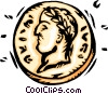 Vector Clip Art image  of a coin with Caesar's head