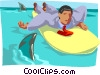 Vector Clip Art picture  of a surfer in shark-infested waters