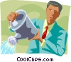 Vector Clip Art image  of a businessman with a watering