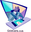 businessman sitting at his desk Vector Clipart illustration