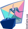 businessman with large briefcase Vector Clipart illustration