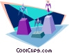 Vector Clip Art image  of a man and woman on a pedestal
