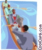 Instructing professional rowers Vector Clipart image