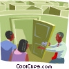 maze with a doorway being opened by business man Vector Clipart illustration