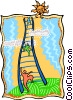 Vector Clipart illustration  of a climbing the ladder of success