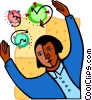 Vector Clipart image  of a man controlling time symbols