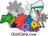 grinding a formula through gears Vector Clip Art graphic
