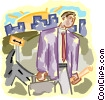 Vector Clip Art image  of a businessman making his rounds
