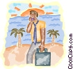 man with cellular phone and palm trees Vector Clipart illustration