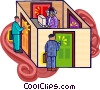 Vector Clip Art image  of a knocking on doors