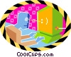 Vector Clip Art image  of a business computing