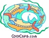 Vector Clip Art graphic  of a big fish eating the little fish