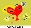 Vector Clipart graphic  of a bleeding heart with an arrow