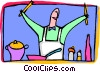 Chef in the kitchen Vector Clipart illustration