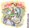 couple enjoying lunch at an outdoor cafe Vector Clipart illustration