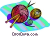 Yarn with knitting needles Vector Clipart image