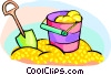 Vector Clipart illustration  of a shovel and pail in a sandbox