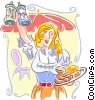 Waitress with Authentic fare Vector Clip Art picture