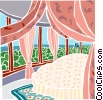 Vector Clip Art graphic  of a canopied bed with a wall of