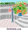 patio with stairs and plants Vector Clip Art picture
