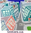downtown office buildings with street scene Vector Clipart illustration