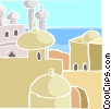 North African buildings with sea Vector Clipart graphic