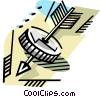 Coin with Arrow Vector Clipart image