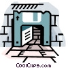 Computer disk as doorway Vector Clipart image