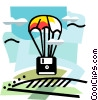Vector Clipart picture  of a Disk as hot air balloon basket