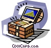 Treasure in treasure chest Vector Clipart illustration