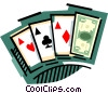 Cards with money wild card Vector Clipart illustration