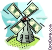 Vector Clip Art image  of a Windmill with money