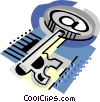Vector Clip Art graphic  of a Large key