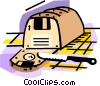 Loaf of bread with sliced disks Vector Clip Art image
