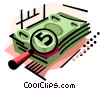 Vector Clip Art image  of a Stack of money magnified
