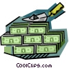 business finance a wall of money Vector Clipart illustration