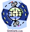 Vector Clipart graphic  of a Satellites around the world