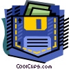 Vector Clip Art graphic  of a Computer disk as pocket